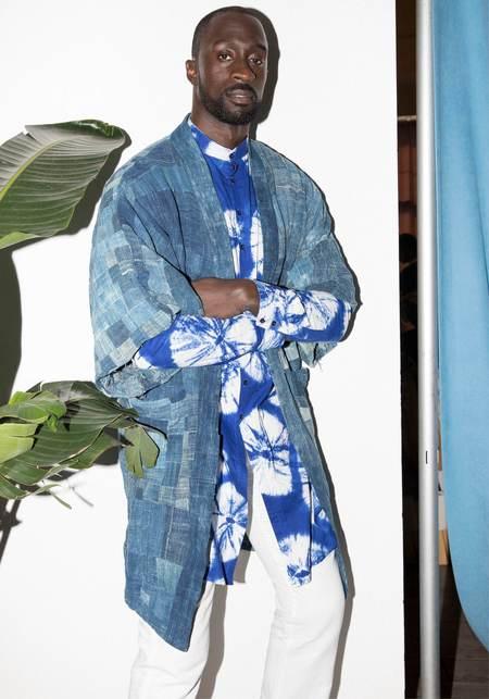 Studio One Eighty Nine Long Mandarin Collar Long Sleeve Shirt - Blue Anansi