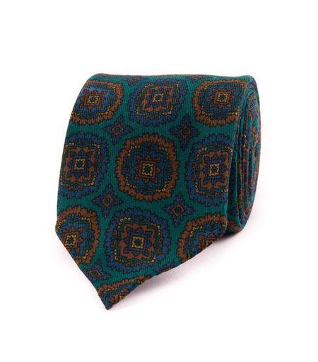 Drake's Printed Wool Tie - Petrol Medallion Motif