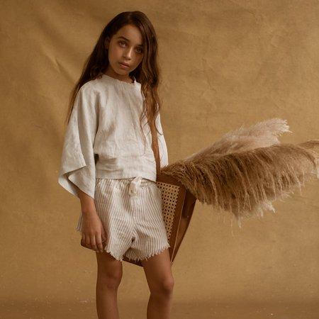 Kids Feather Drum Pixie Shorts - Grey Stripe