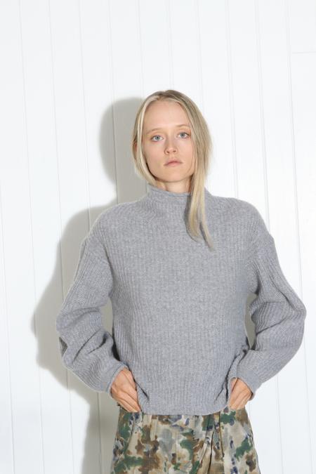 White + Warren Luxe Stitch Standneck Pullover - Grey Heather