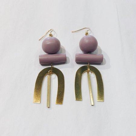 Sonia Gracia Handmade U Earrings w/ Sphere - Lavender