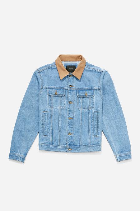 Saturdays NYC Emil Leather Collar Jacket - Stone Washed Indigo
