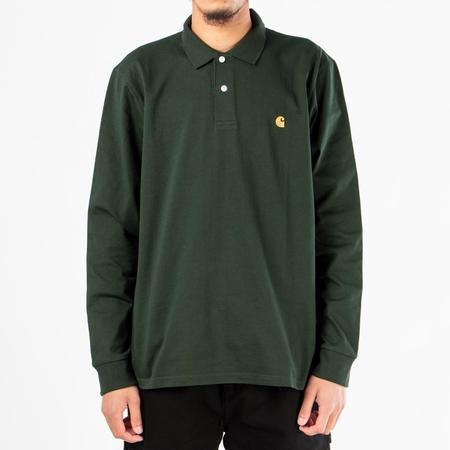 Carhartt WIP Long Sleeve Chase Polo - Loden