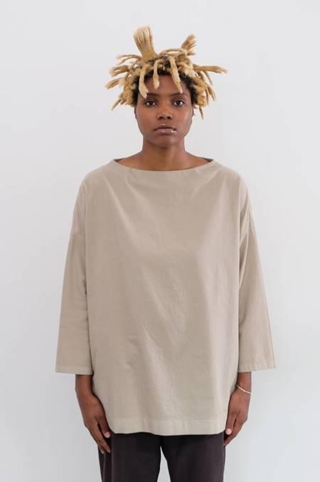 Evam Eva Cotton Stand Neck Shirt - Grege
