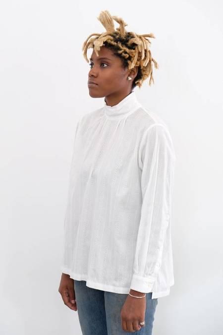 Chimala Leno Cloth High Neck Shirt - OFF WHITE