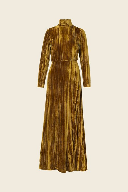 STINE GOYA Liv Velvet Dress - Golden