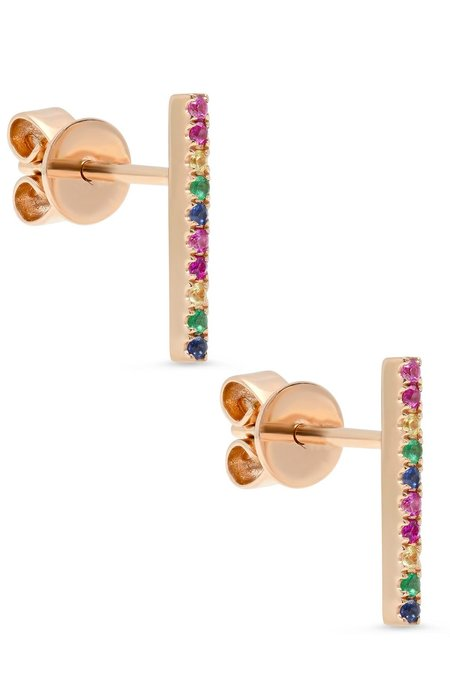SHAIN LEYTON 14K Gold Large Rainbow Stick Studs