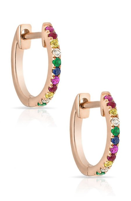 Shain Leyton 14K Gold Rainbow Sapphire Huggies Earrings