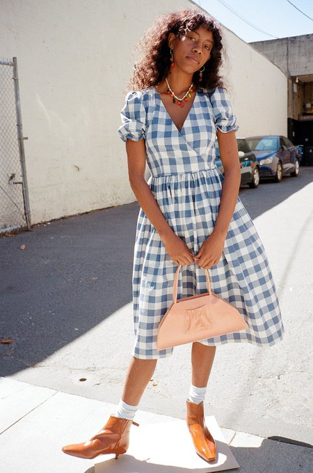 Lisa Says Gah Topanga Midi Dress - Denim/Ivory Gingham