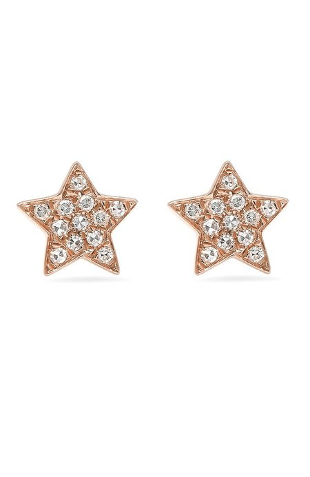 Shain Leyton Gold Diamond Star Stud Earrings