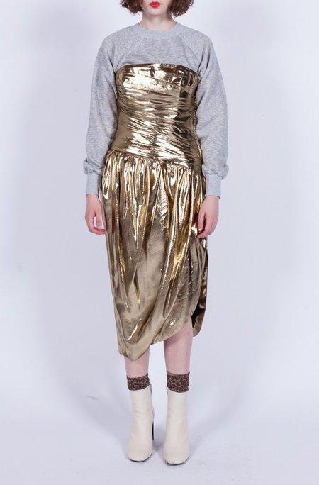 Yo Vintage! Metallic Strapless Dress - Gold