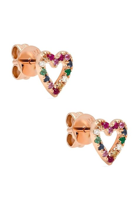 Shain Leyton 14K Gold Rainbow Sapphire Heart Stud Earrings