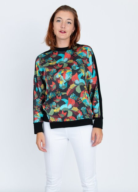 A. Oei Colorblock Sweater - PRINT/BLACK