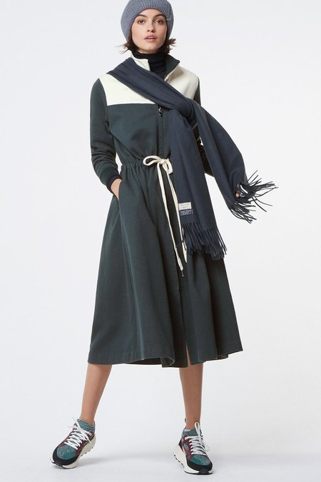 Kitsune Sweatshirt Dress - Green/Ecru