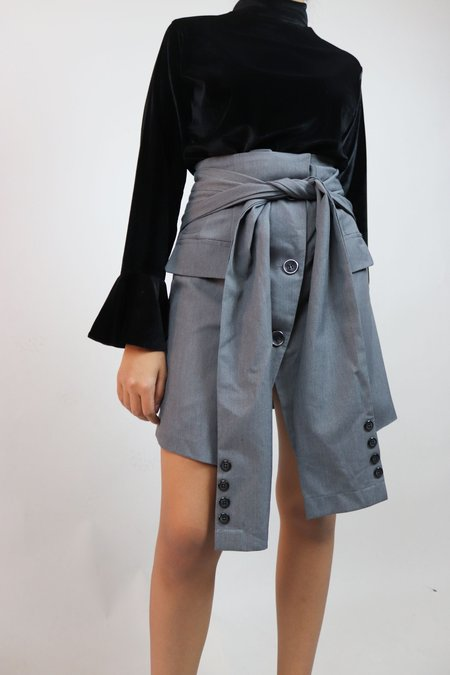 W A N T S Sleeves Mini Skirt - Grey