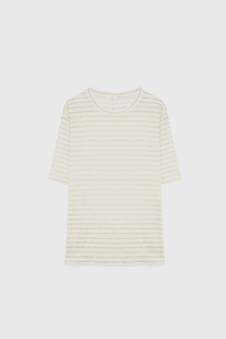 COMMONERS Luxe Linen Tee - Natural Stripe