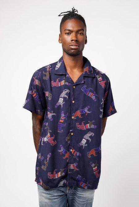 RAGA MAN SS Camp Collar Panther Shirt - Panther