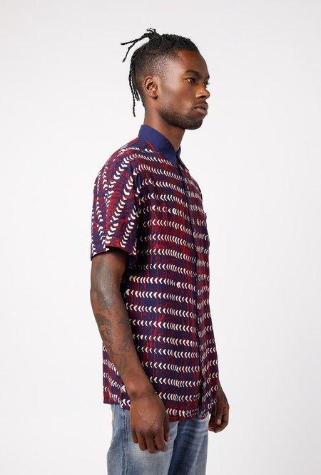 RAGA MAN short sleeve Point Collar Triangle Line Shirt - Navy