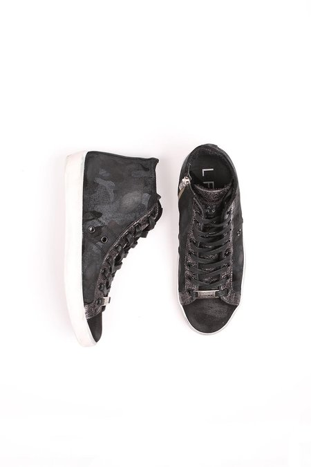 Leather Crown Donna Classic Hightop Sneaker - Black