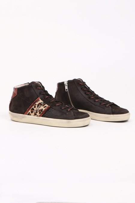 Leather Crown Donna Leopard Hightop Sneakers - Chocolate