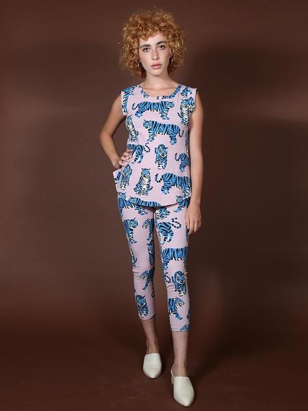 Nooworks Leggings - Blue Tiger Print