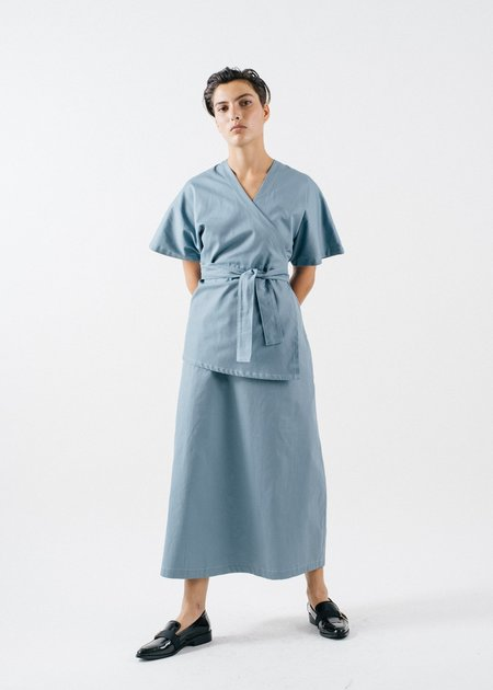 REIFhaus Loren Wrap Twill Dress - Sky