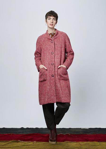 Echappees Belles Evident Wool Blend Coat - pink melange