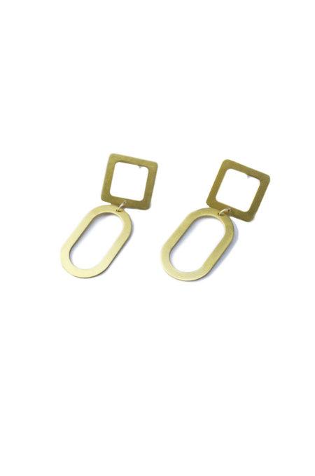 Natalie Joy Small Square Oval Earrings