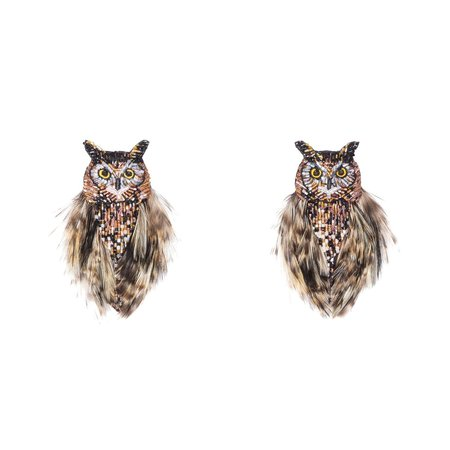 Mignonne Gavigan Owl Earrings - Brown