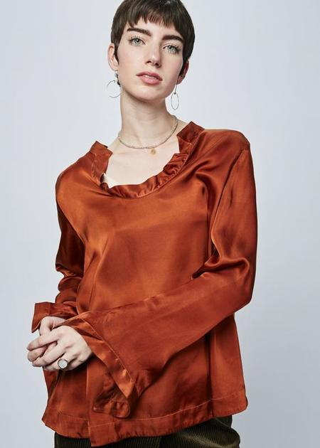 Hannes Roether Mishy Open Neck Blouse - copper