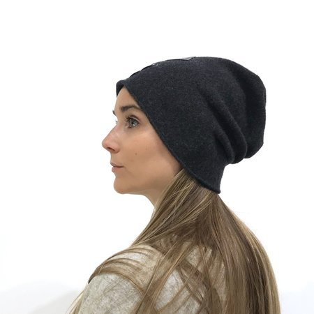 Claudia Schulz Justice Beanie with Leather Stitched X - Charcoal Grey