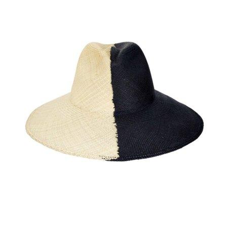 frankie. Color Block beach hat - BLACK/NATURAL