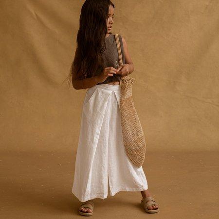 Kids Feather Drum Yoko Culottes - White