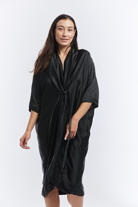 Miranda Bennett Silk Charmeuse O'Keeffe Dress - Black