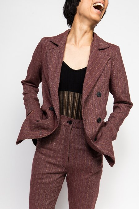 Suzanne Rae Double Breasted Blazer - Burgundy