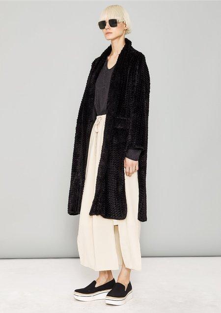 Berenik Faux Rhomb Fur Cardigan - Black