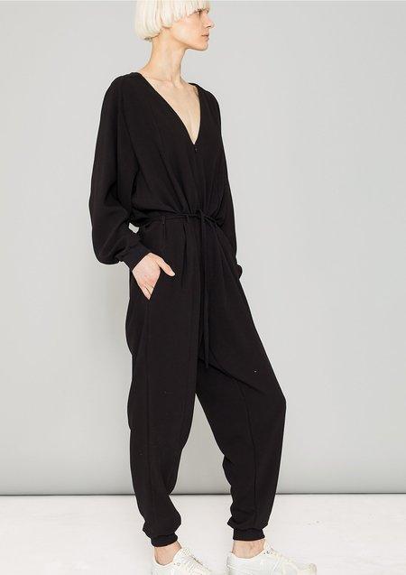 Berenik Long Oversized Heavy Draping Jumpsuit - Black