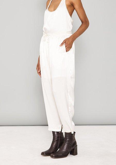 Unisex Berenik LOOSE ELASTIC SILKY RAYON SATIN PANTS - white