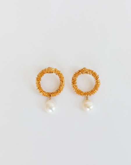 Mirit Weinstock Sparkling Hoops & Wild Pearl Earrings - Gold