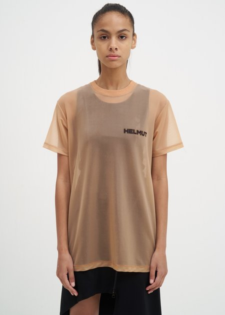Helmut Lang Sheer Brian Roettinger Logo Hack T-Shirt - Tan