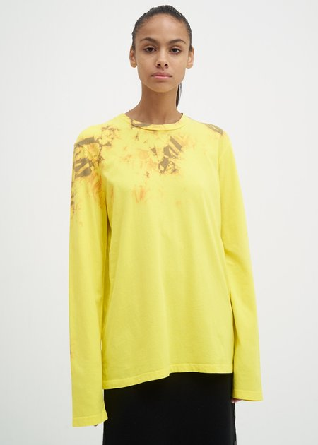 Helmut Lang Tie Dye Dart Back Long Sleeve T-Shirt - Yellow