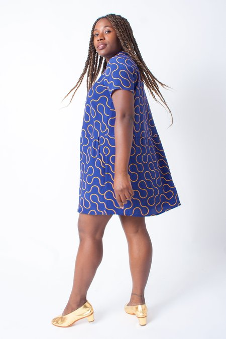 Dusen Dusen Oversize Silk Tee Dress (Petite) - Blue Arc