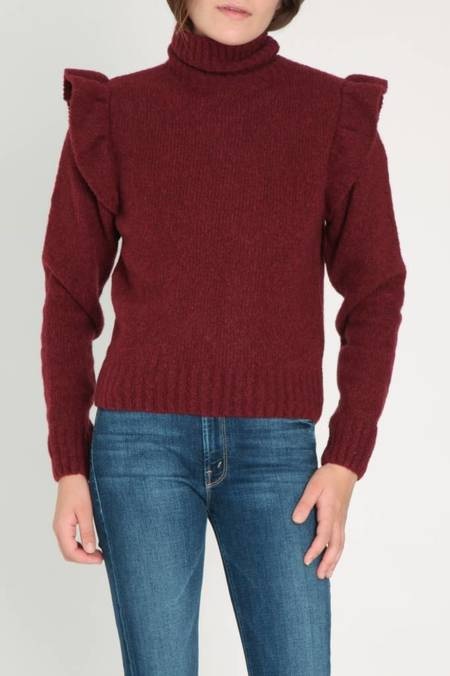 Masscob Ruffle Shoulder Sweater - Burgundy