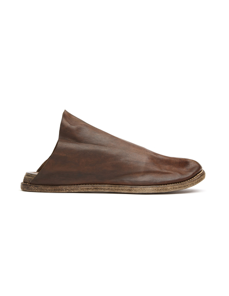 Guidi Distressed Leather Mules - Brown