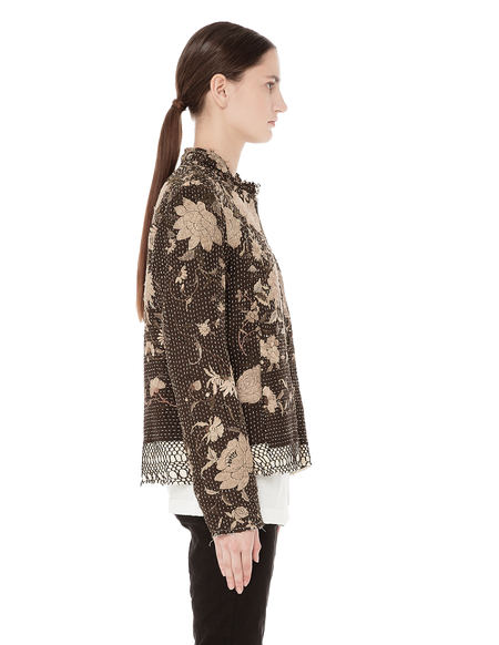 By Walid Vintage floral print silk bomber jacket - brown