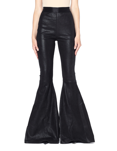 Faith Connexion Wide-legged Suede Trousers - black
