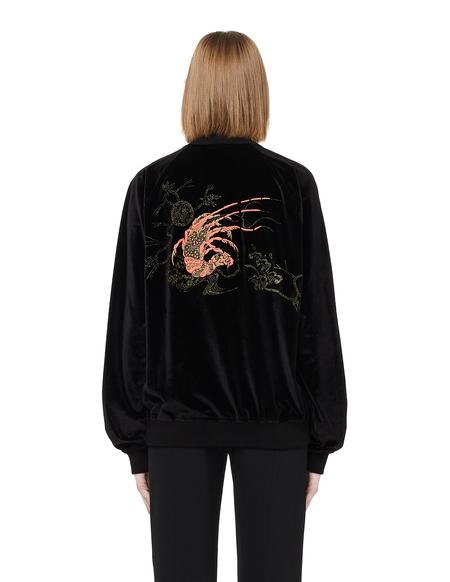 Blackyoto Appliquéd Velvet Zip Up Top - BLACK