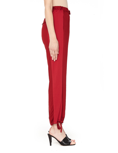 Sue Undercover Cotton Striped Drawstring Pants - Red