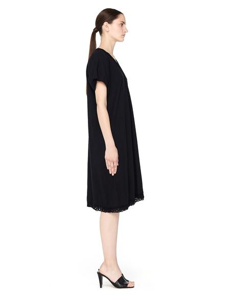 Blackyoto Vintage Cotton Dress with V-neck Line - BLACK