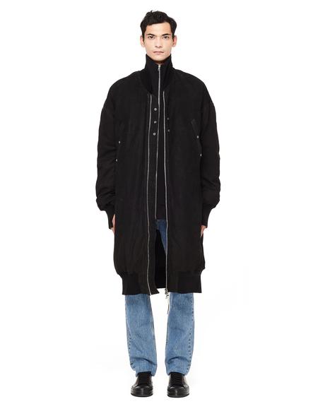 Isaac Sellam Leather Zip-Up Down Coat - Black